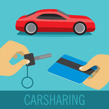Carsharing icon. Flat icon with red sport car and two hands hold key and credit card Stock Photo