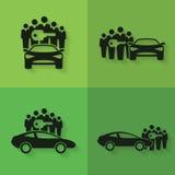 Carsharing- Ikonen Lizenzfreie Stockfotografie
