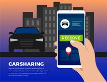 Carsharing, carpool service illustration concept stock image