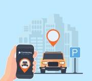 Carsharing- Service-Illustration Stadtlandschaft Hintergrund, geolocation, Auto und Smartphone in der Hand On-line-Leihwagen stockbilder