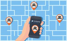 Carsharing service illustration. Urban map with geolocation mark, cars and smartphone in hand. Online rental car. vector illustration