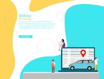 Carsharing- Vektorillustrationson-line-konzept, mobiler Stadttransport mit Zeichentrickfilm-Figur vektor abbildung