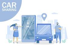 Carsharing- Vektorkonzept für Netzfahne, Websiteseite vektor abbildung