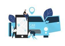 Carsharingsconcept Vector illustratie stock foto