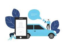 Carsharingsconcept Vector illustratie royalty-vrije stock afbeelding