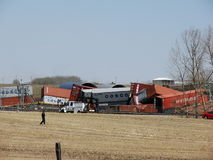 carstairs wykolejają blisko pociągu Zdjęcia Royalty Free