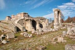 Carsulae, twin temples, ancient via Flaminia stock photo