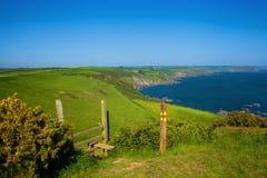 Carswell-Bucht nahe Efeuinsel, Südwestküstenweg, Devon Stockbilder