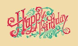 Cartão à moda da cor do presente do feliz aniversario Fotos de Stock