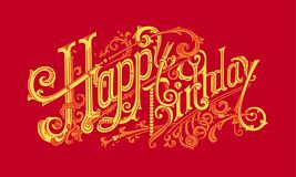 Cartão à moda da cor do presente do feliz aniversario Imagens de Stock Royalty Free