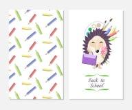 Cartão à moda da inspiração no estilo bonito com o ouriço engraçado dos desenhos animados Molde para o projeto da cópia De volta  Imagens de Stock