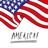 Cartão à moda tirado mão da celebração julho de quarto do Dia da Independência dos EUA em cores da bandeira vermelha e azul Handw ilustração do vetor