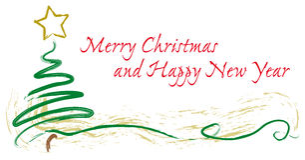 Cartão, árvore e estrela pintados de cumprimentos do Natal Foto de Stock
