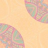 Cartão étnico decorativo colorido com mandala Molde com a mandala tribal da garatuja Imagem de Stock