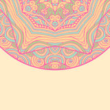 Cartão étnico decorativo colorido com mandala Molde com a mandala tribal da garatuja Fotografia de Stock Royalty Free