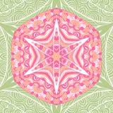 Cartão étnico decorativo colorido com mandala Molde com a mandala tribal da garatuja Fotos de Stock Royalty Free