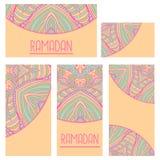 Cartão étnico decorativo colorido com mandala Molde com a mandala tribal da garatuja Imagens de Stock