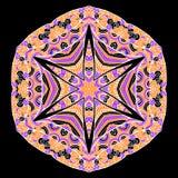 Cartão étnico decorativo colorido com mandala Molde com a mandala tribal da garatuja Foto de Stock Royalty Free