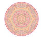 Cartão étnico decorativo colorido com mandala Molde com a mandala tribal da garatuja Imagem de Stock Royalty Free