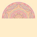 Cartão étnico decorativo colorido com mandala Molde com a mandala tribal da garatuja Ilustração do vetor Foto de Stock Royalty Free