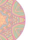 Cartão étnico decorativo colorido com mandala Molde com a mandala tribal da garatuja Ilustração do vetor Imagem de Stock