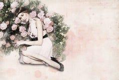 cartão 'menina e flores ' ilustração do vetor