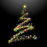 Cartão 11 do ano novo, com árvore,   Imagem de Stock