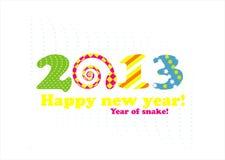 Cartão 2013 do ano novo com serpente Fotografia de Stock Royalty Free