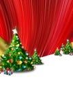 Cartão, abeto e presentes de Natal ilustração stock