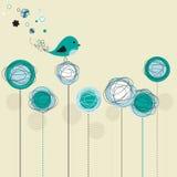 Cartão abstrato azul do pássaro Fotografia de Stock