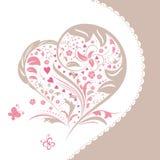 Cartão abstrato do convite da forma do coração da flor Fotografia de Stock