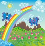 Cartão abstrato dos desenhos animados ilustração stock