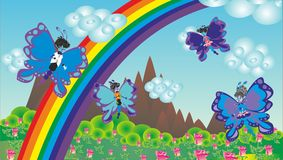 Cartão abstrato dos desenhos animados com a família das borboletas ilustração royalty free