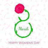 Cartão agradável do dia das mulheres s, o 8 de março Imagens de Stock Royalty Free