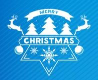 Cartão alegre de Chrismas com flocos da neve, árvore de Natal e rena Vetor ilustração do vetor
