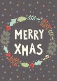 Cartão alegre do Xmas Cartão do Natal Fotografia de Stock Royalty Free