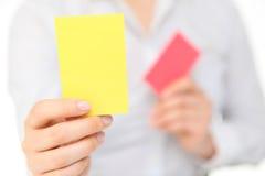 Cartão amarelo Imagens de Stock