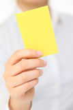 Cartão amarelo Foto de Stock Royalty Free