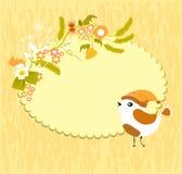 Cartão amarelo com pássaros Fotografia de Stock