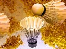 Cartão amarelo do badminton Fotografia de Stock