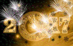 Cartão amarelo do pulso de disparo 2017 na celebração Imagens de Stock Royalty Free