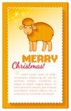 Cartão amarelo mergulhado Natal Fotos de Stock Royalty Free