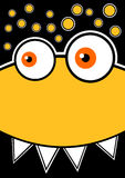 Cartão amarelo tonto do convite do partido do monstro ilustração do vetor