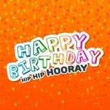 Cartão anca do quadril do feliz aniversario hooray com confetes Imagens de Stock