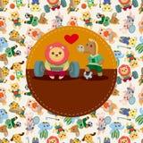 Cartão animal do jogador do esporte dos desenhos animados ilustração stock