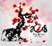 Cartão 2018, ano do ano novo feliz novo chinês de cão do ther fotos de stock