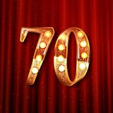 Cartão 70 anos de aniversário de números dourados Fotos de Stock