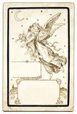 Cartão antigo do anjo ilustração stock