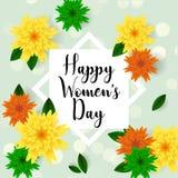 Cartão ao 8 de março, com flores de papel Bandeiras Imagem de Stock Royalty Free