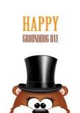 Cartão ao dia de Groundhog Marmota em um fundo branco Imagem de Stock Royalty Free
